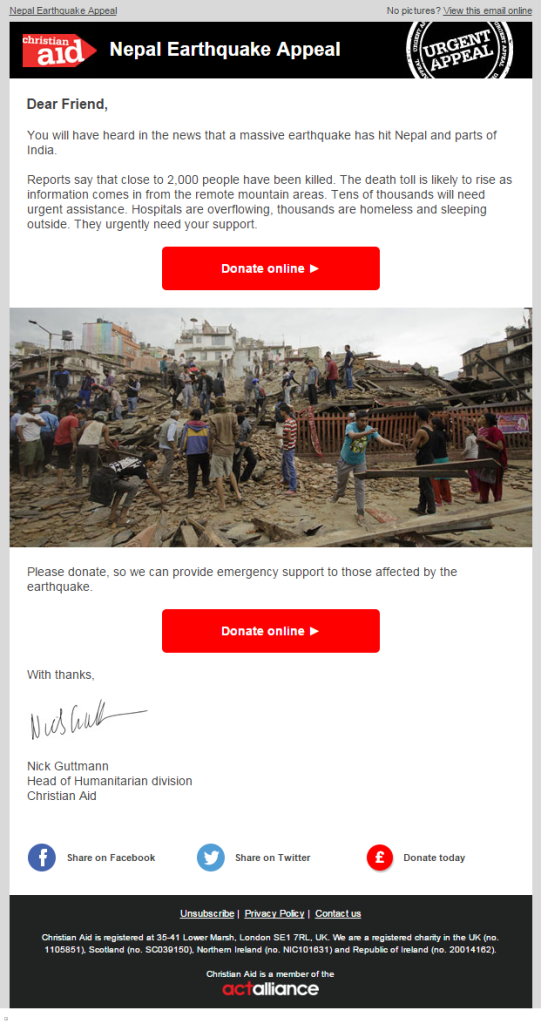 Christian Aid - Nepal Donation Email