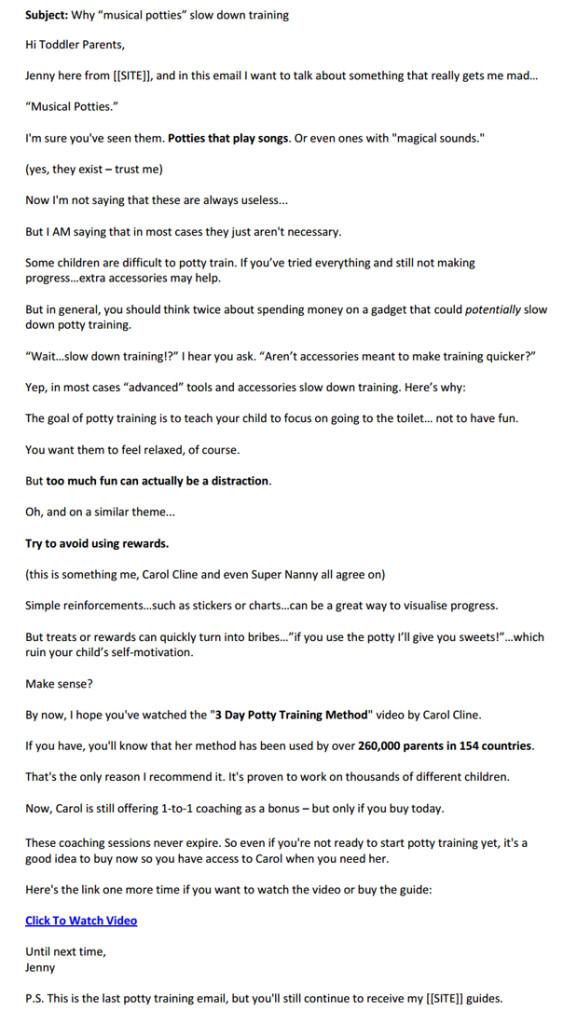 Potty Training Autoresponder Email